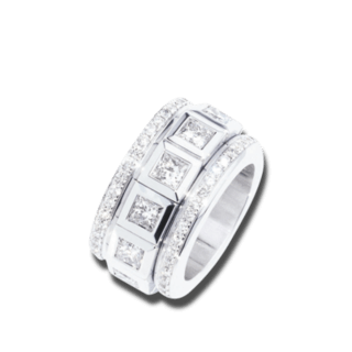 Tamara Comolli Ring Curriculum Vitae Princess Cut Diamonds Large R-CV-12PR-L-WG
