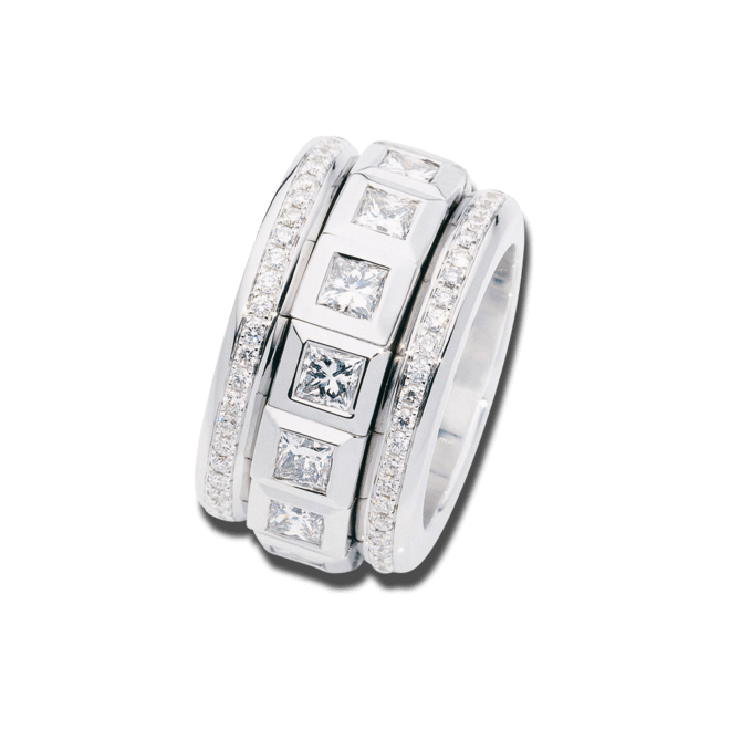 Ring Tamara Comolli Curriculum Vitae Princess Cut Diamonds Large aus 750 Weißgold mit mehreren Diamanten (4,12 Karat)