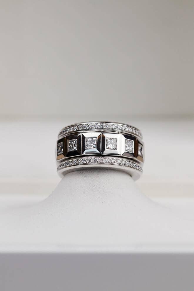 Ring Tamara Comolli Curriculum Vitae Princess Cut Diamonds Large aus 750 Weißgold mit mehreren Diamanten (4,12 Karat)