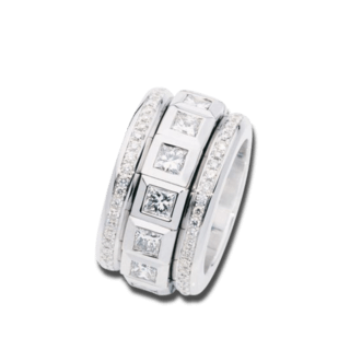 Tamara Comolli Ring Curriculum Vitae Princess Cut Diamonds R-CV-CV77-14PR-WG