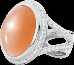 Ring Tamara Comolli Cushion Ring aus 750 Weißgold mit 1 Mondstein und mehreren Brillanten (1,5 Karat) Größe 54