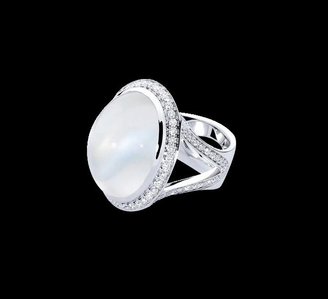 Ring Tamara Comolli Cushion Small aus 750 Weißgold mit 1 Mondstein und mehreren Diamanten (1,5 Karat)