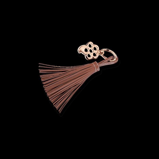 Schlüsselanhänger Tamara Comolli Flower Rosé aus Kalbsleder und Edelstahl beschichtet