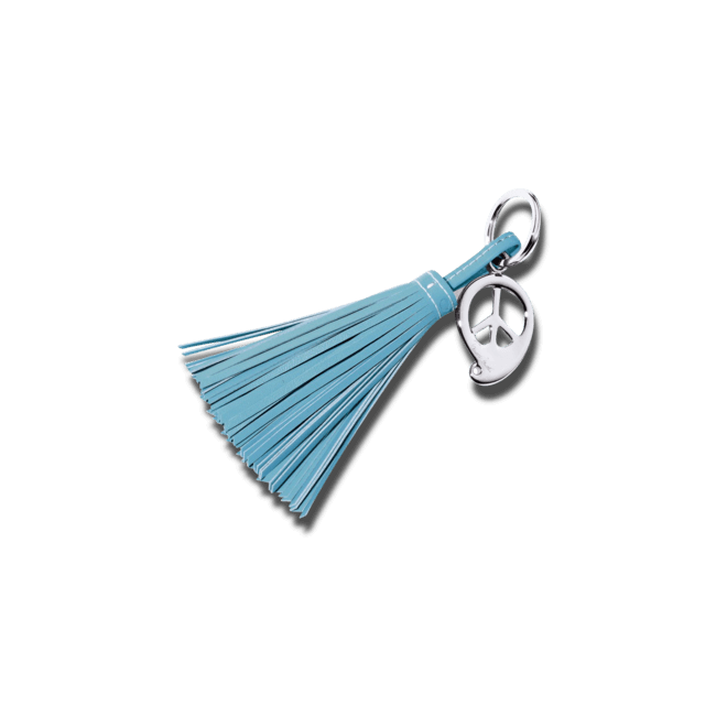 Schlüsselanhänger Tamara Comolli Peace Blue aus Kalbsleder und Edelstahl
