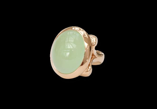 Ring Tamara Comolli Hippie Glam Apfelgrüner Chalcedon Large aus 750 Roségold mit 1 Chalcedon