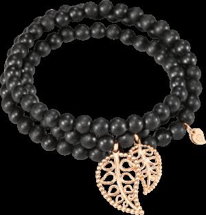 Armband und Halskette Tamara Comolli India Ebony Gold Leaves aus Ebenholz und 750 Roségold Größe L