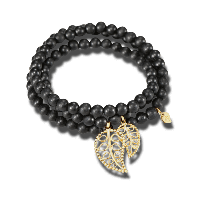 Armband und Halskette Tamara Comolli India Ebony Gold Leaves aus Ebenholz und 750 Gelbgold Größe L