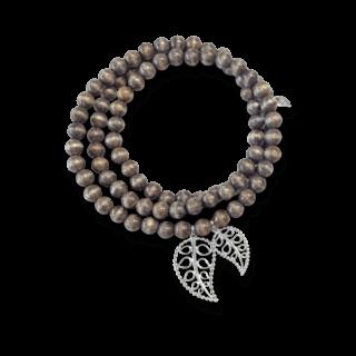Tamara Comolli Armband und Halskette India Greywood Gold Leaves B-IND-GW-LEAF-M-WG