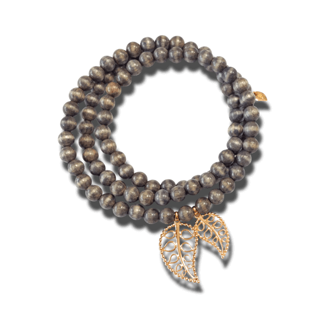Armband und Halskette Tamara Comolli India Greywood Gold Leaves aus Greywood und 750 Roségold Größe L
