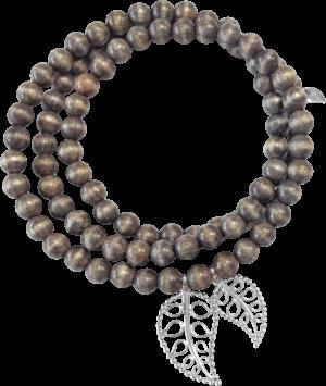 Armband und Halskette Tamara Comolli India Greywood Gold Leaves aus Greywood und 750 Weißgold Größe L