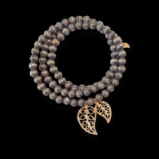 Tamara Comolli Armband und Halskette India Greywood Gold Leaves B-IND-GW-LFBD-S-RG