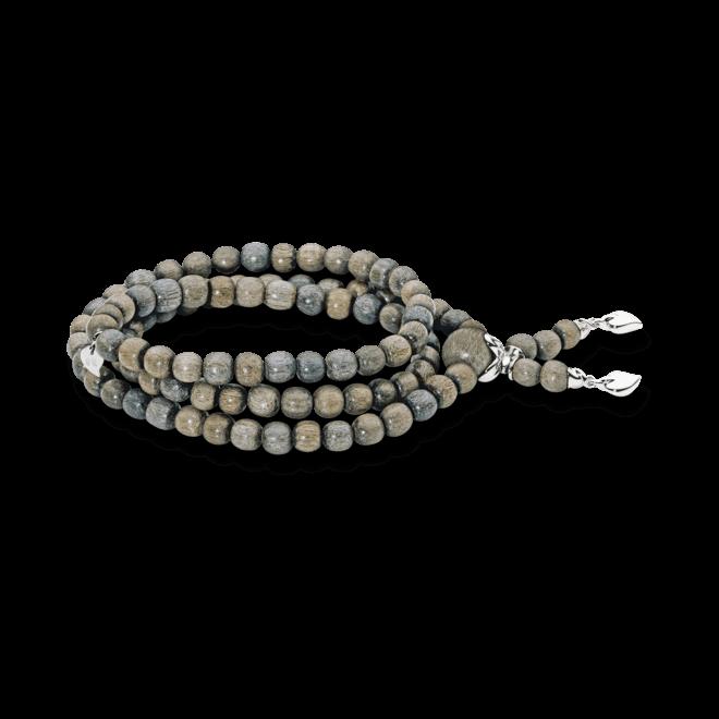 Armband und Halskette Tamara Comolli India Greywood Plain aus Greywood und 750 Weißgold Größe L