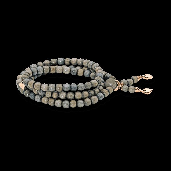 Armband und Halskette Tamara Comolli India Greywood Plain aus Greywood und 750 Roségold Größe M