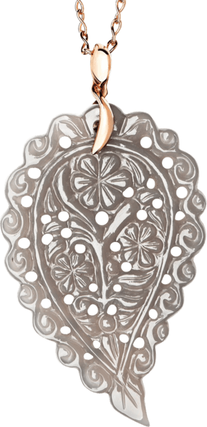 Anhänger Tamara Comolli India Leaf Grauer Chalcedon L aus 750 Roségold mit 1 Chalcedon