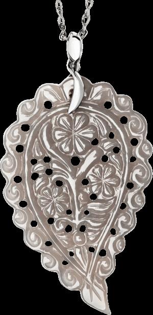Anhänger Tamara Comolli India Leaf Grauer Chalcedon L aus 750 Weißgold mit 1 Chalcedon