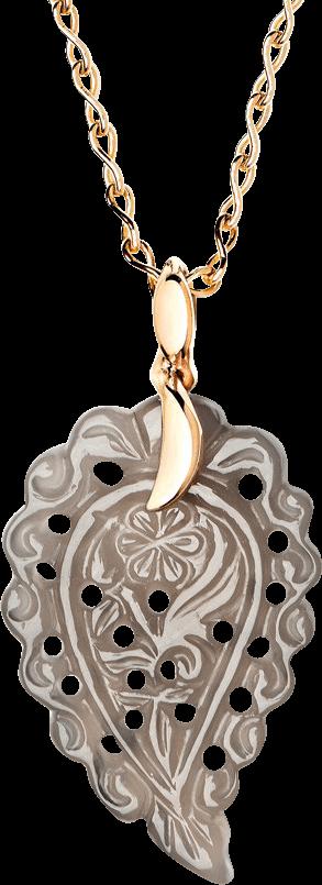 Anhänger Tamara Comolli India Leaf Grauer Chalcedon S aus 750 Roségold mit 1 Chalcedon