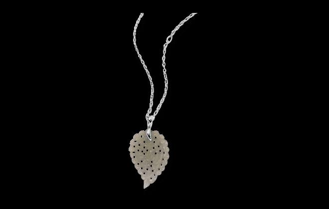 Anhänger Tamara Comolli India Leaf Large aus 750 Weißgold mit 1 Chalcedon