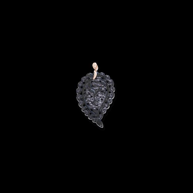 Anhänger Tamara Comolli Leaf Large Black aus 750 Roségold mit 1 Onyx
