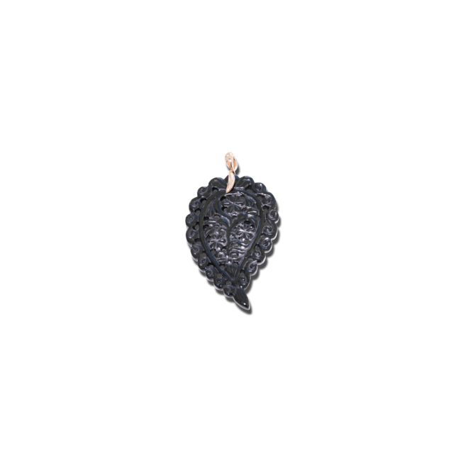 Anhänger Tamara Comolli India Leaf Large Black Onyx aus 750 Roségold mit 1 Onyx