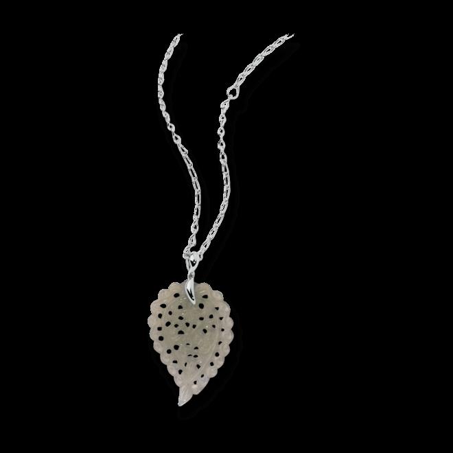 Anhänger Tamara Comolli India Leaf Medium aus 750 Weißgold mit 1 Chalcedon