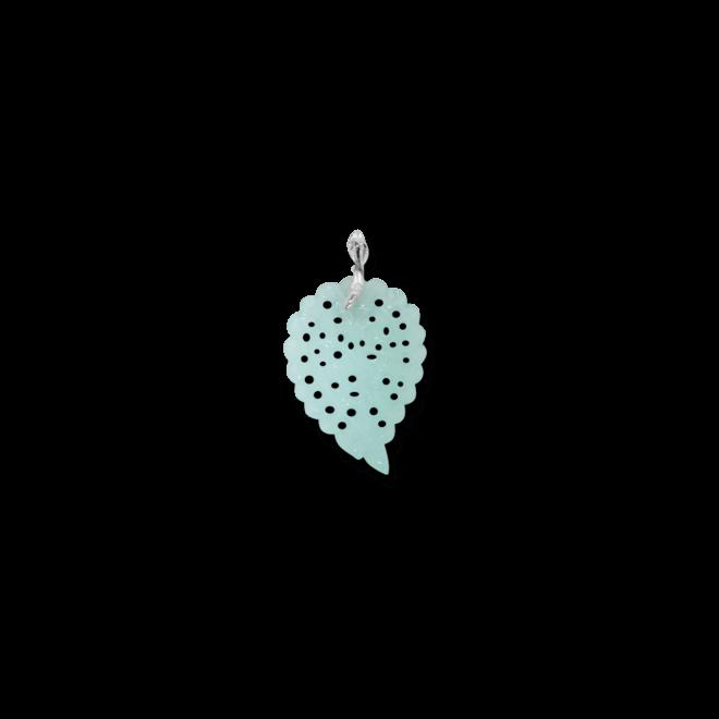 Anhänger Tamara Comolli Leaf Medium Aqua Chalcedon aus 750 Weißgold mit 1 Chalcedon