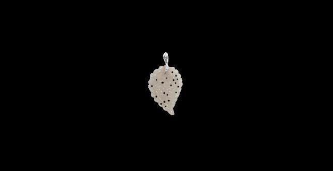 Anhänger Tamara Comolli Leaf Medium Grauer Chalcedon aus 750 Weißgold mit 1 Chalcedon
