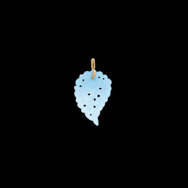 Anhänger Tamara Comolli Leaf Medium Ocean Chalcedon aus 750 Roségold mit Chalcedon