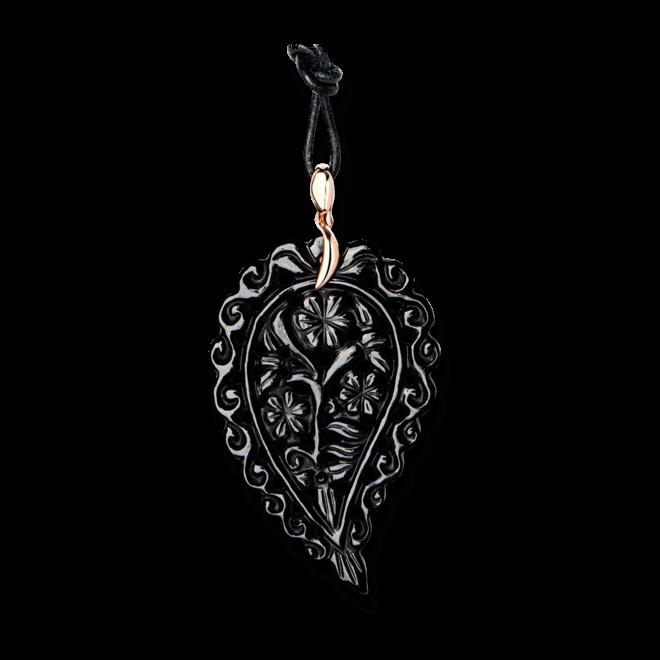 Anhänger Tamara Comolli India Leaf Schwarzer Onyx L aus 750 Roségold mit 1 Onyx