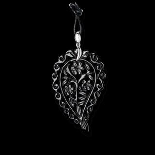 Tamara Comolli Anhänger India Leaf Schwarzer Onyx L P-IND-ONBL-L-WG