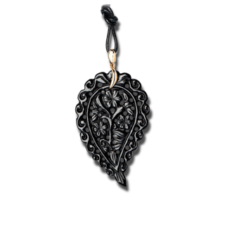 Tamara Comolli Anhänger India Leaf Schwarzer Onyx L P-IND-ONBL-L-YG