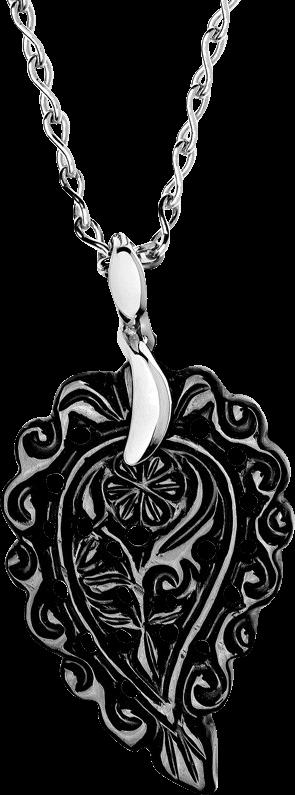 Anhänger Tamara Comolli India Leaf Schwarzer Onyx S aus 750 Weißgold mit 1 Onyx