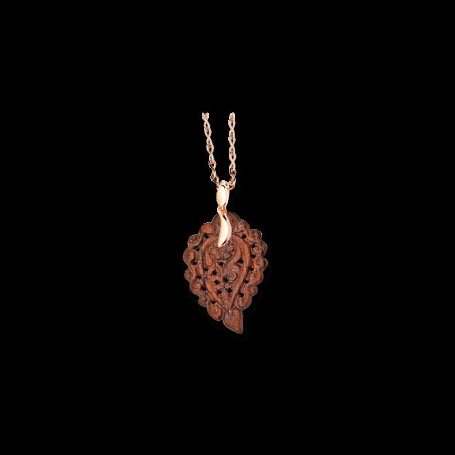 Anhänger Tamara Comolli Leaf Small Bubinga aus 750 Roségold und Bubinga Holz