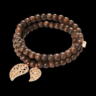 Tamara Comolli Armband und Halskette India Snakewood Gold Leaves B-IND-SW-LEAF-L-RG