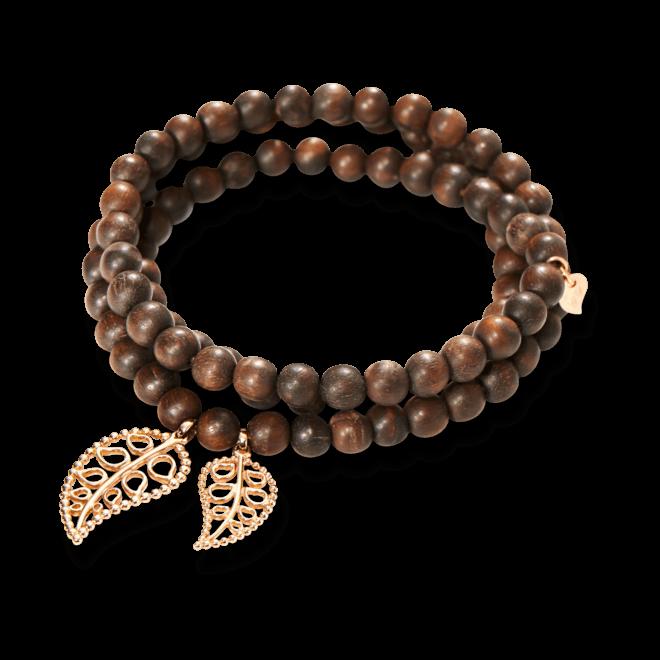 Armband und Halskette Tamara Comolli India Snakewood Gold Leaves aus Snakewood und 750 Roségold Größe M