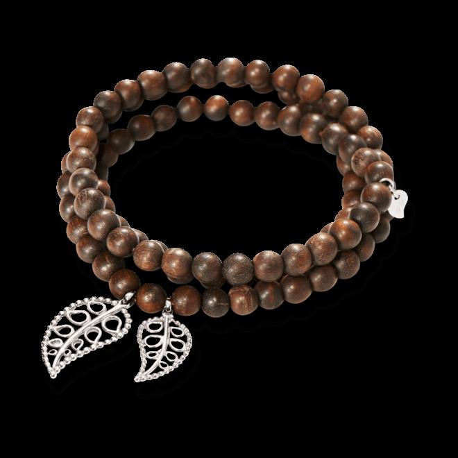 Armband und Halskette Tamara Comolli India Snakewood Gold Leaves aus Snakewood und 750 Weißgold Größe M