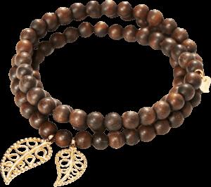 Armband und Halskette Tamara Comolli India Snakewood Gold Leaves aus Snakewood und 750 Gelbgold Größe M