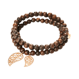 Tamara Comolli Armband und Halskette India Snakewood Gold Leaves B-IND-SW-LFBD-S-RG