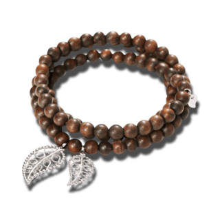 Tamara Comolli Armband und Halskette India Snakewood with leaves B-IND-SW-LEAF-M-WG