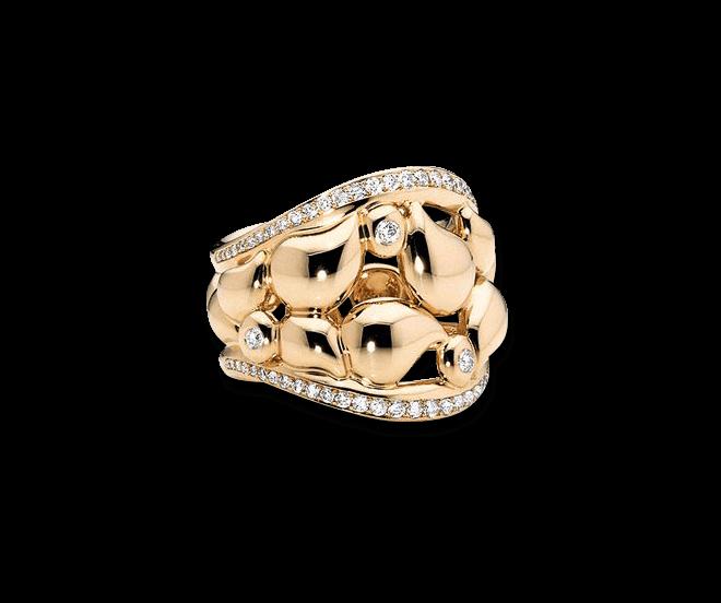 Ring Tamara Comolli Lace Large aus 750 Gelbgold mit mehreren Diamanten (0,5 Karat)