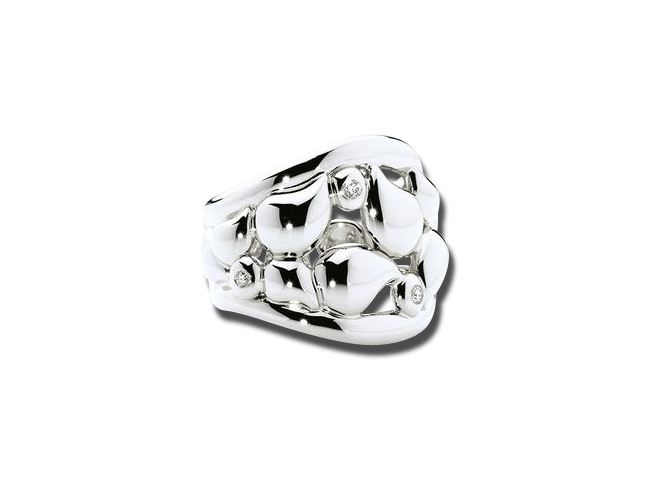 Ring Tamara Comolli Lace Medium aus 750 Weißgold mit mehreren Diamanten (0,1 Karat)