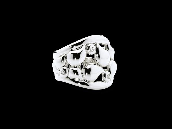 Ring Tamara Comolli Lace XL aus 750 Weißgold mit mehreren Diamanten (0,18 Karat)