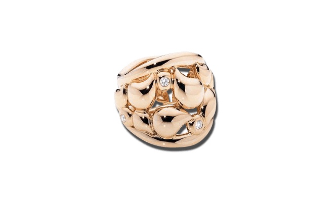 Ring Tamara Comolli Lace XXL aus 750 Roségold mit mehreren Diamanten (0,18 Karat)