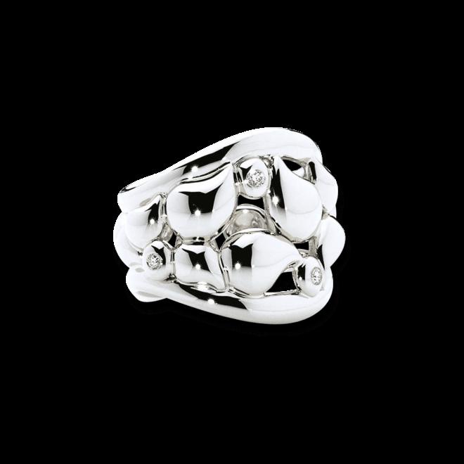 Ring Tamara Comolli Lace XXL aus 750 Weißgold mit mehreren Diamanten (0,18 Karat)