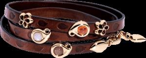 Armband mit Anhänger Tamara Comolli Loopy Camel aus Kalbsleder und 750 Roségold mit mehreren Edelsteinen
