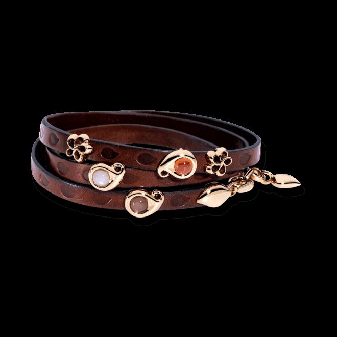 Armband mit Anhänger Tamara Comolli Loopy Camel aus Kalbsleder und 750 Roségold mit 1 Mondstein, 1 Mondstein und 1 Granat
