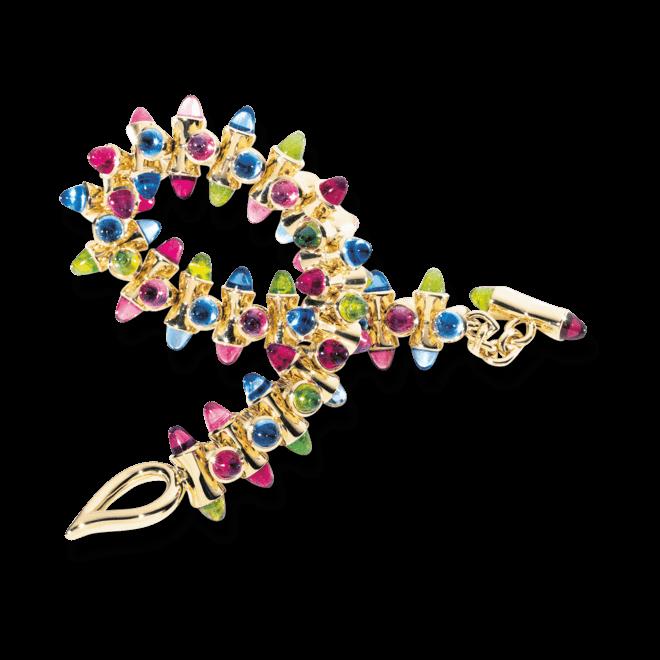 Armband Tamara Comolli Mikado Candy aus 750 Gelbgold mit mehreren Granaten, mehreren Peridoten und mehreren Topasen