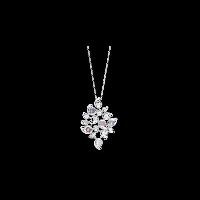 Anhänger Tamara Comolli Paisley aus 750 Weißgold mit mehreren Diamanten (1,2 Karat) und Mondstein