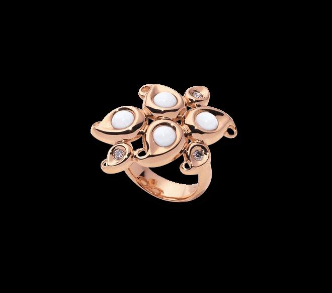 Ring Tamara Comolli Paisley Flower Empire aus 750 Roségold mit 4 Cacholongen und 3 Diamanten