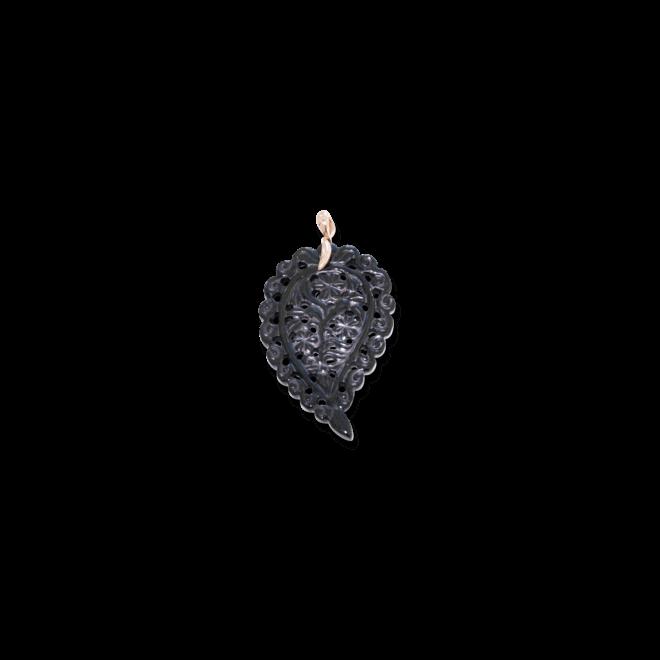 Anhänger Tamara Comolli Leaf Schwarzer Onyx M aus 750 Roségold mit 1 Onyx