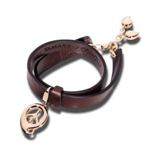 Tamara Comolli Armband mit Anhänger Leather Loop with Droplet Clasp B-LL-DR-BROWN-RG